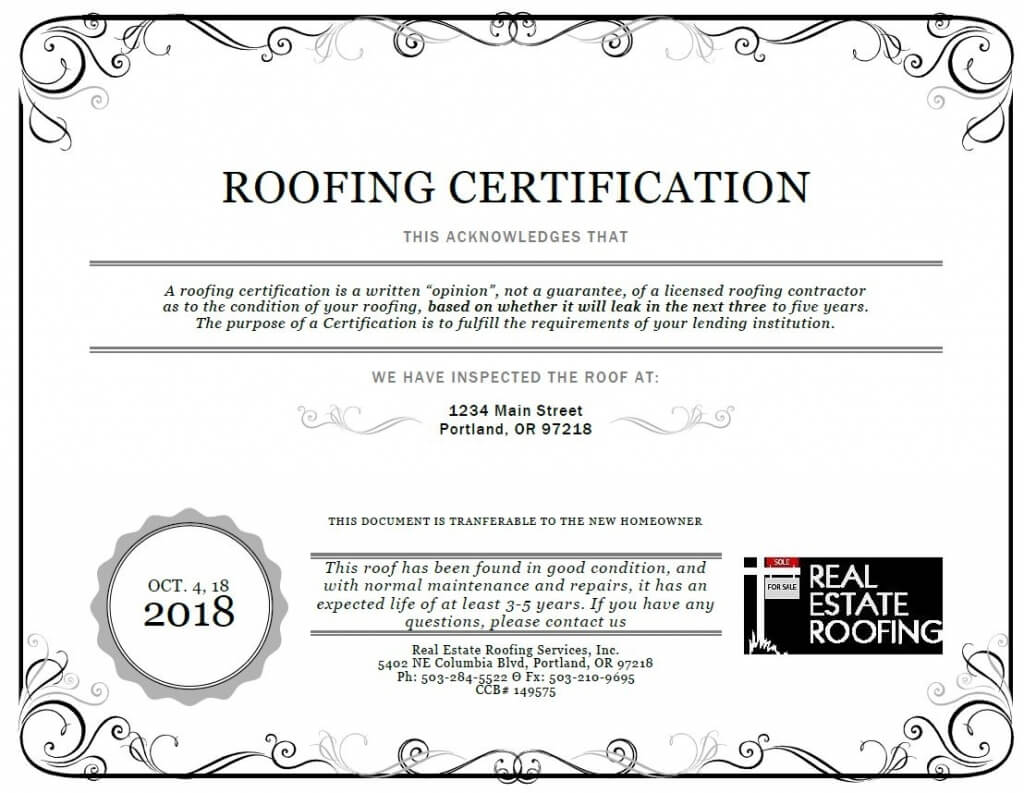 Free Roof Certification Template | Free Download Template Design for Roof Certification Template