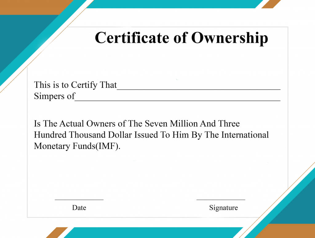 Free Sample Certificate Of Ownership Templates | Certificate With Regard To Certificate Of Ownership Template