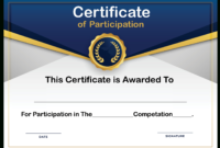Free Sample Format Of Certificate Of Participation Template Pertaining To Certificate Of Participation Template Doc