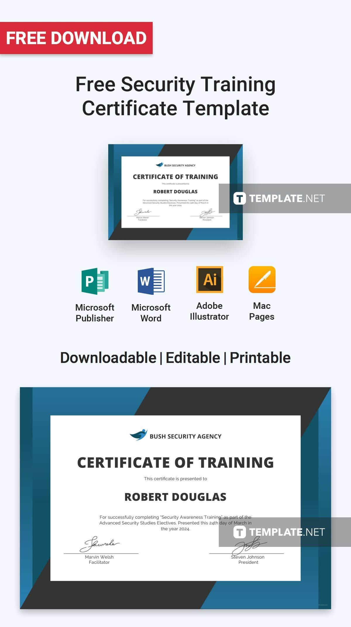 Free Security Training Certificate | Certificate Templates regarding Certificate Authority Templates
