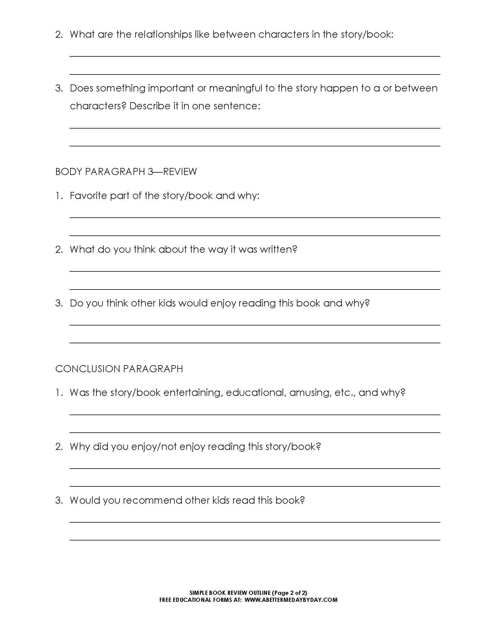 Free: Simple 5 Paragraph Book Review Or Report Outline Form With One Page Book Report Template