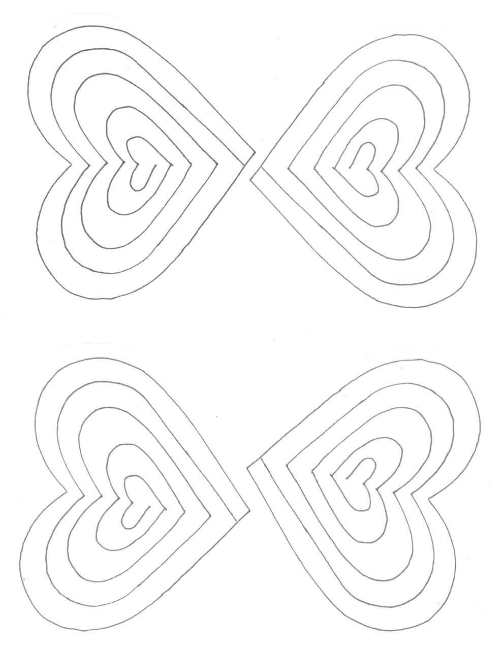 Free Spiral Heart Printable Template   Heart Pop Up Card within Pixel Heart Pop Up Card Template