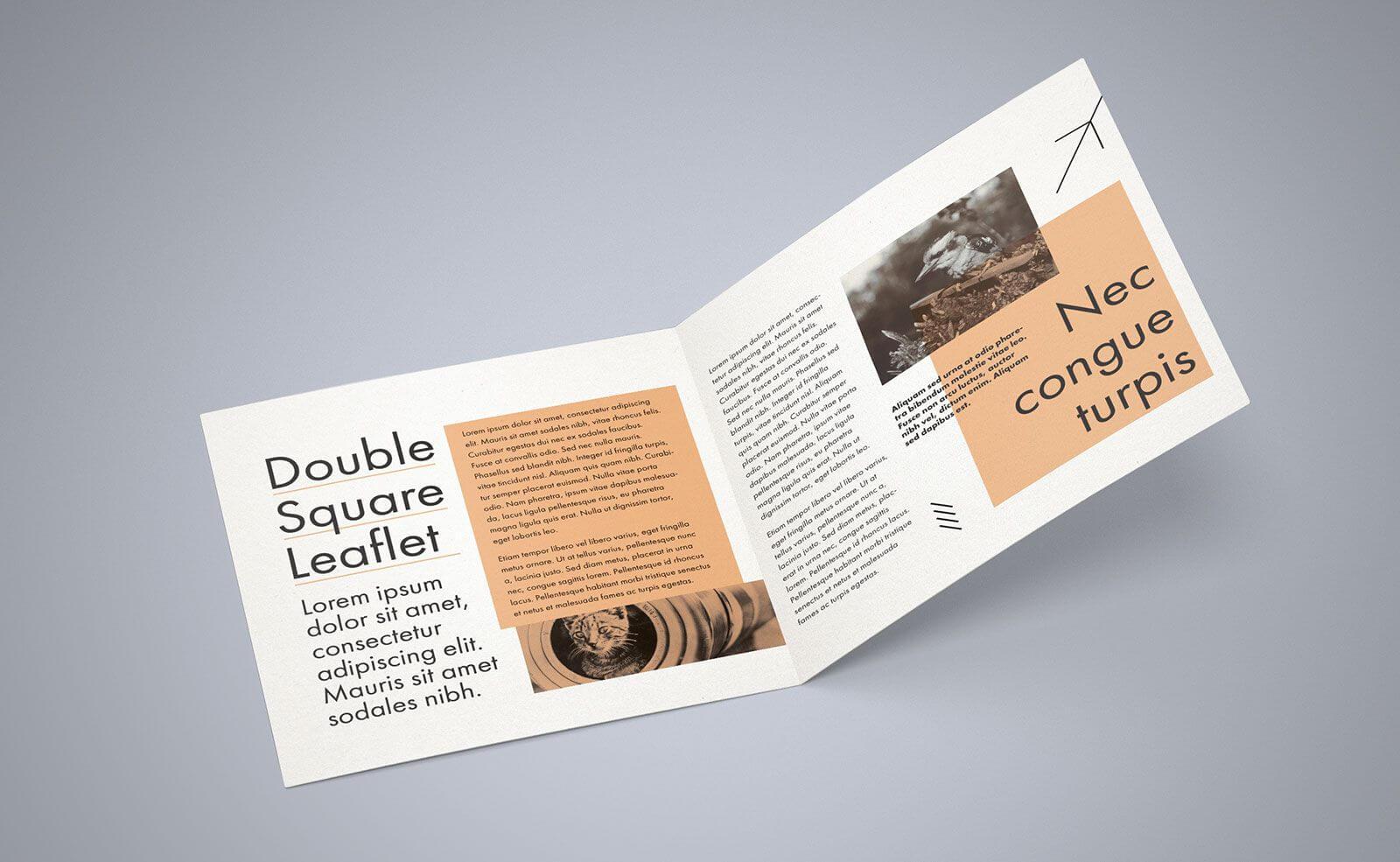 Free Square Bi Fold Brochure Mockup Psd File 2 | Bi Fold Intended For 2 Fold Brochure Template Free