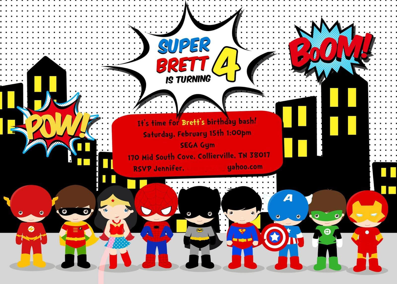 Free Superhero Birthday Party Invitation Templates … In 2019 throughout Superman Birthday Card Template