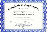 Free Templates For Certificates Of Appreciation pertaining to Recognition Of Service Certificate Template