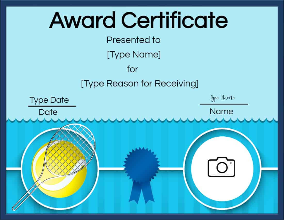 Free Tennis Certificate | Customize Online & Print For Tennis Certificate Template Free