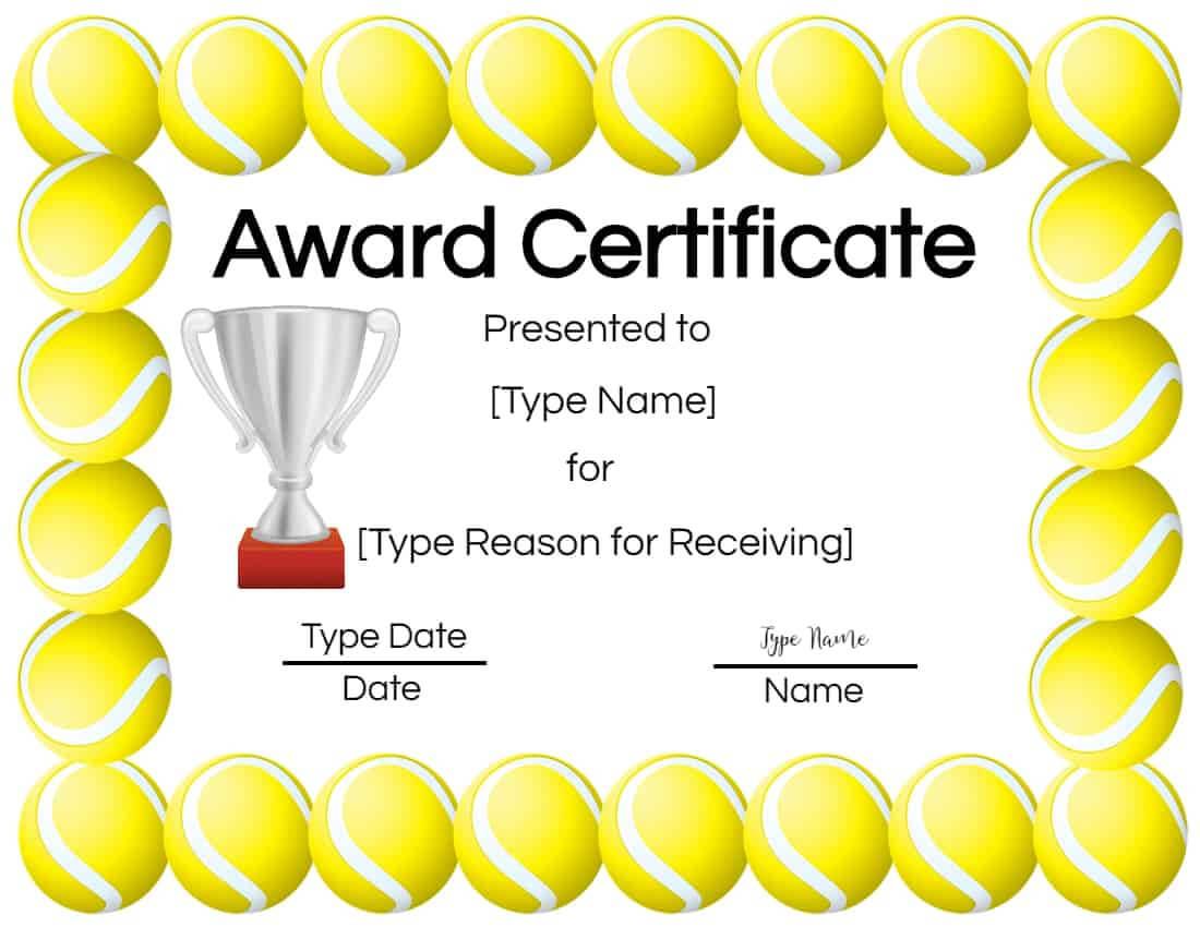 Free Tennis Certificate | Customize Online & Print intended for Tennis Certificate Template Free