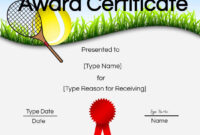 Free Tennis Certificate | Customize Online & Print Pertaining To Tennis Certificate Template Free