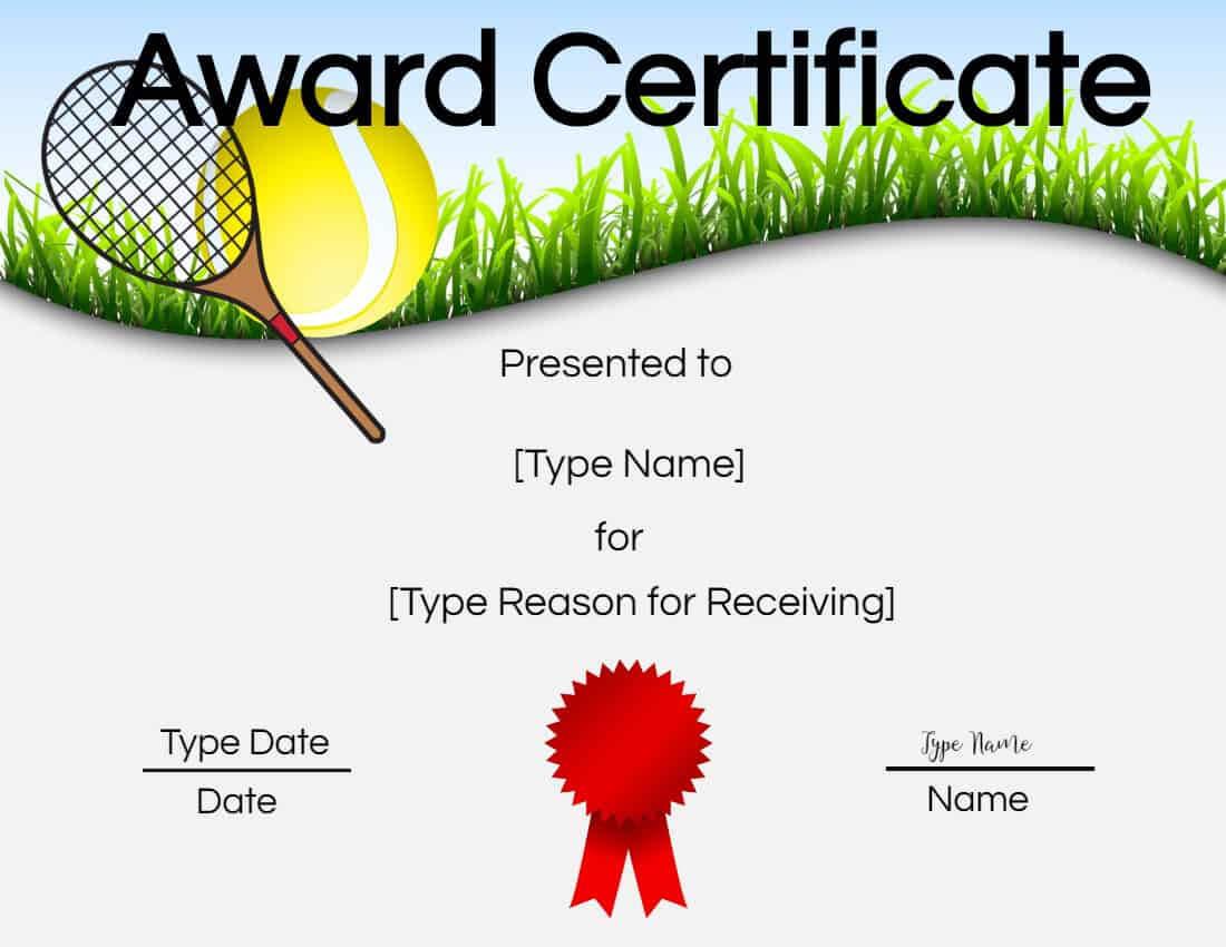 Free Tennis Certificate | Customize Online & Print pertaining to Tennis Certificate Template Free