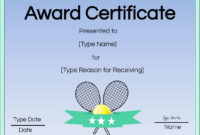 Free Tennis Certificate | Customize Online & Print With Regard To Tennis Certificate Template Free
