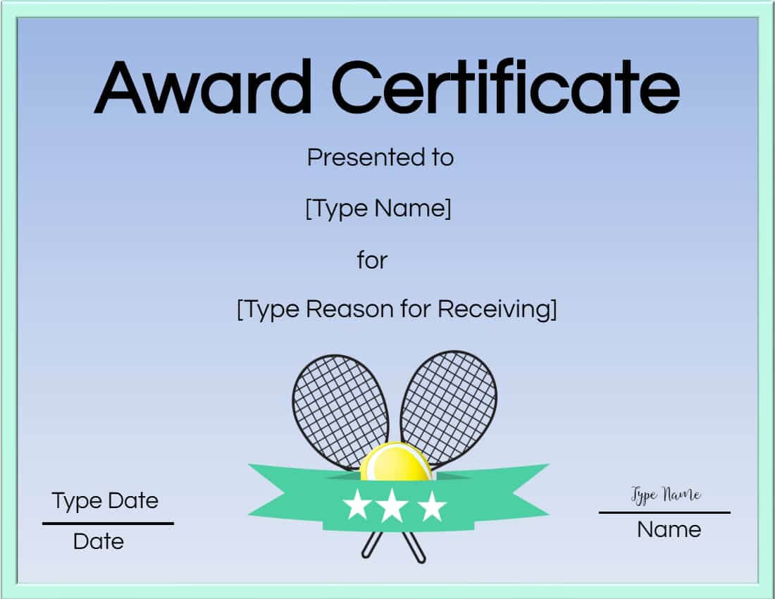 Free Tennis Certificate | Customize Online & Print with regard to Tennis Certificate Template Free
