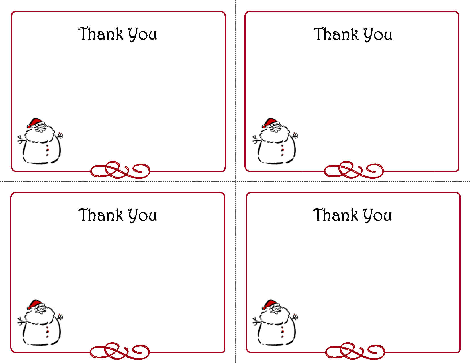 Free Thank You Cards Printable | Free Printable Holiday Gift Throughout Christmas Thank You Card Templates Free
