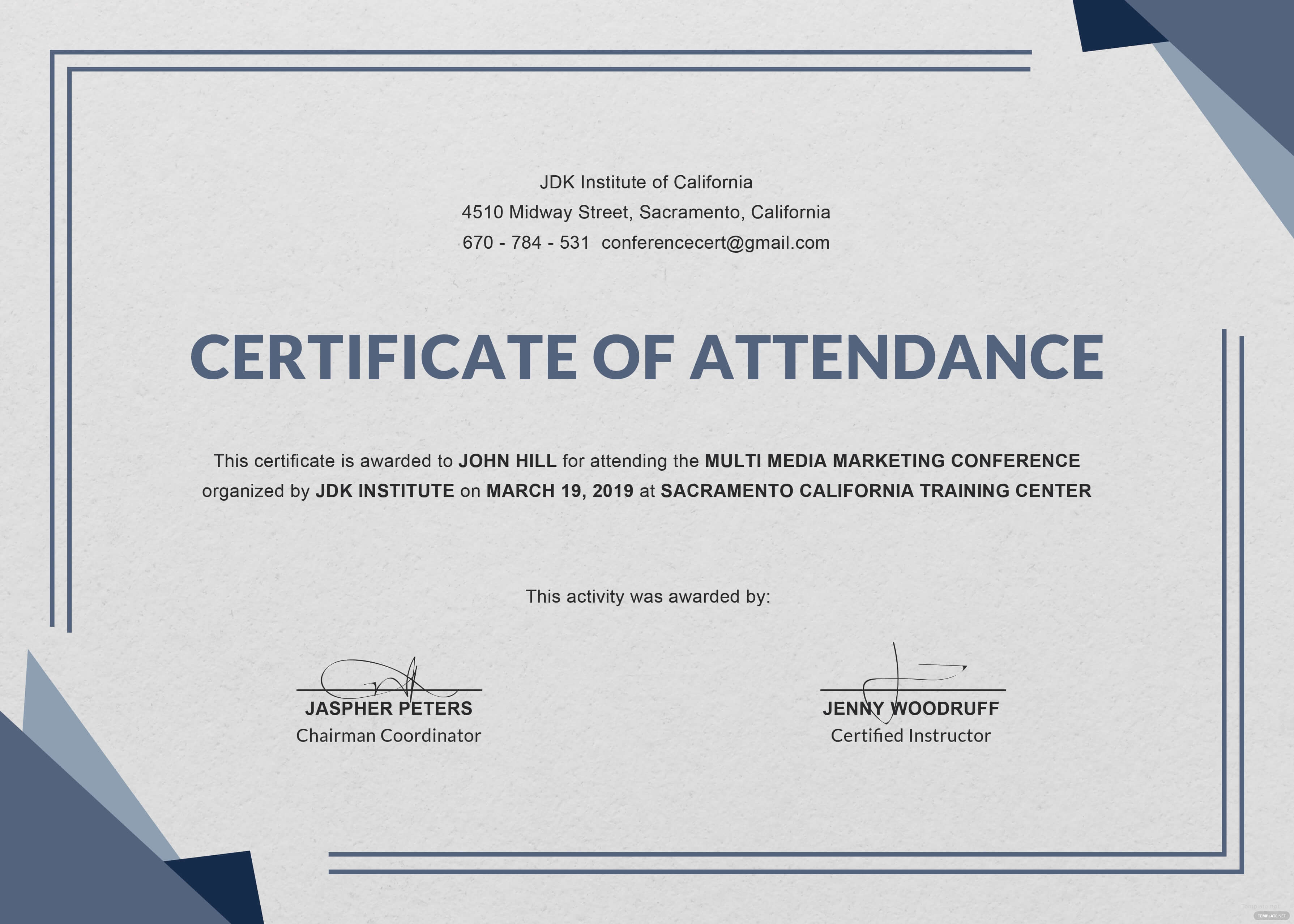 Free Training Attendance Certificate Template Word Printable Regarding Certificate Of Attendance Conference Template