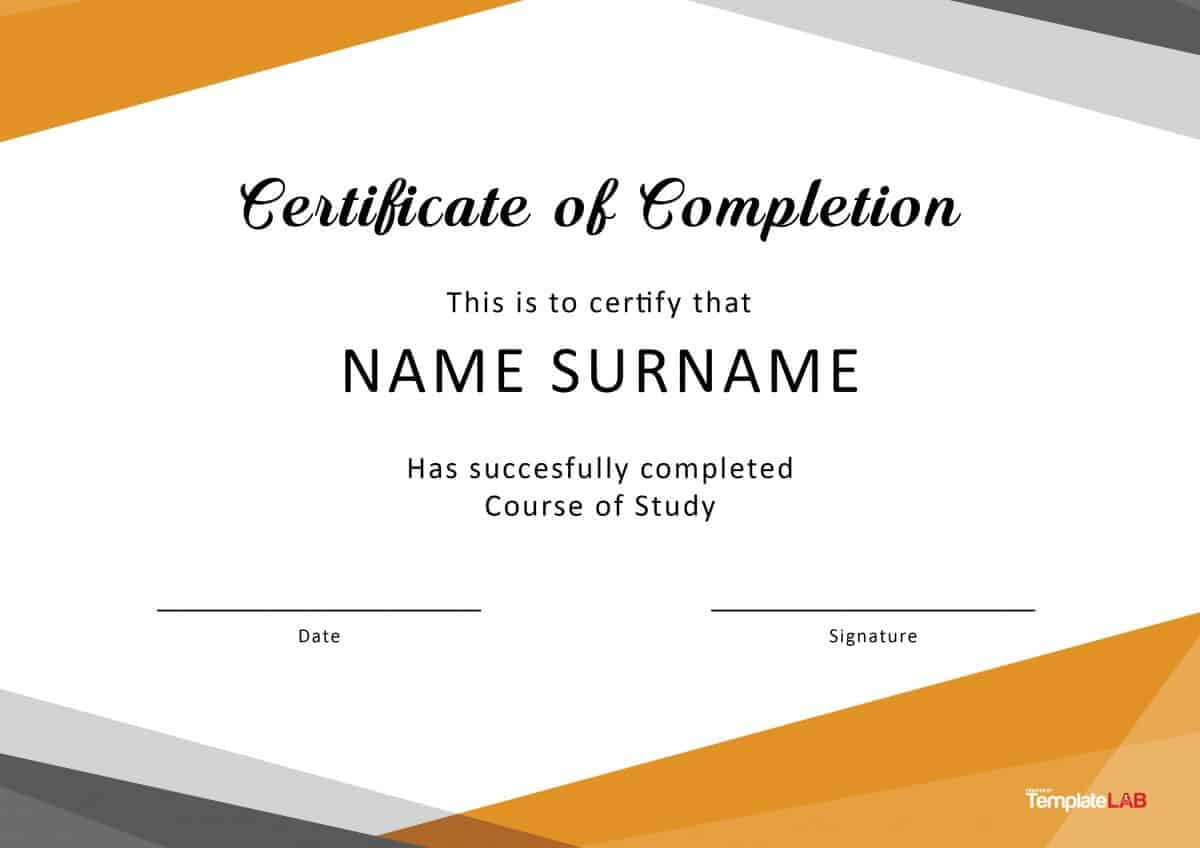 Free Training Completion Certificate Templates In Free Training Completion Certificate Templates