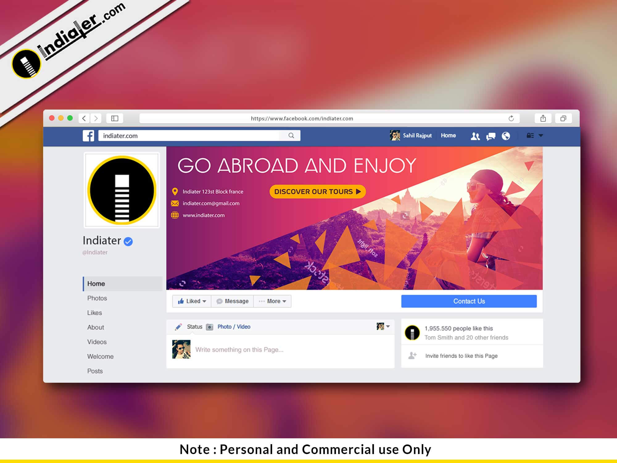 Free Travel Facebook Cover Psd Template - Indiater throughout Facebook Banner Template Psd