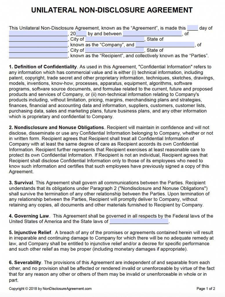 Free Unilateral Non-Disclosure Agreement (Nda) | Pdf | Word regarding Nda Template Word Document