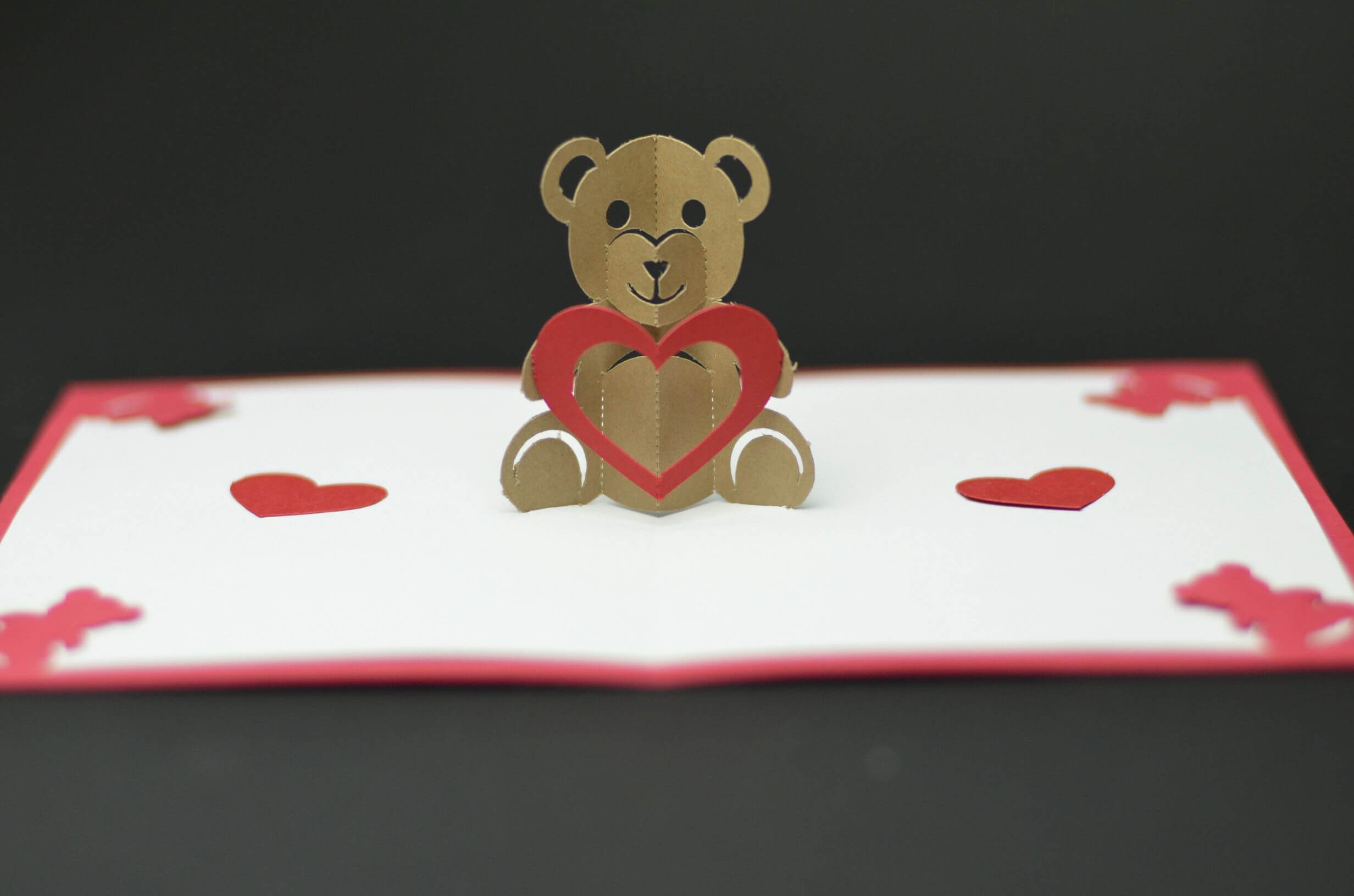 Free Valentines Day Pop Up Card Templates. Teddy Bear Pop Up with Pop Out Heart Card Template
