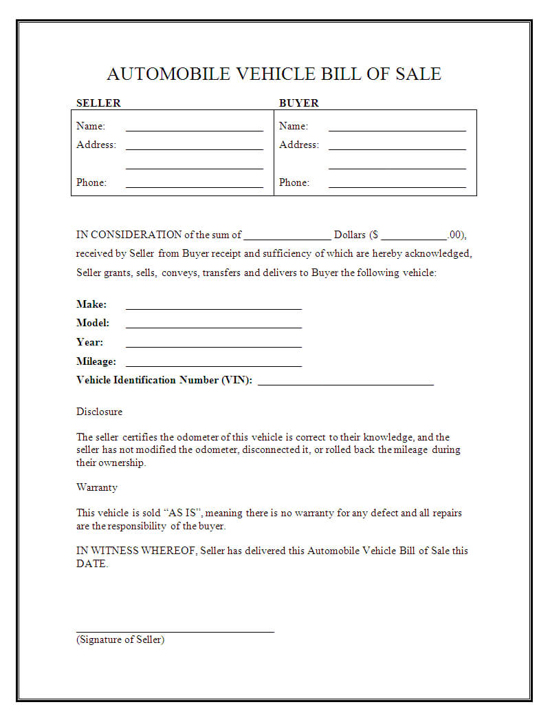 Free Vehicle Bill Of Sale Forms - Tosya.magdalene-Project for Vehicle Bill Of Sale Template Word