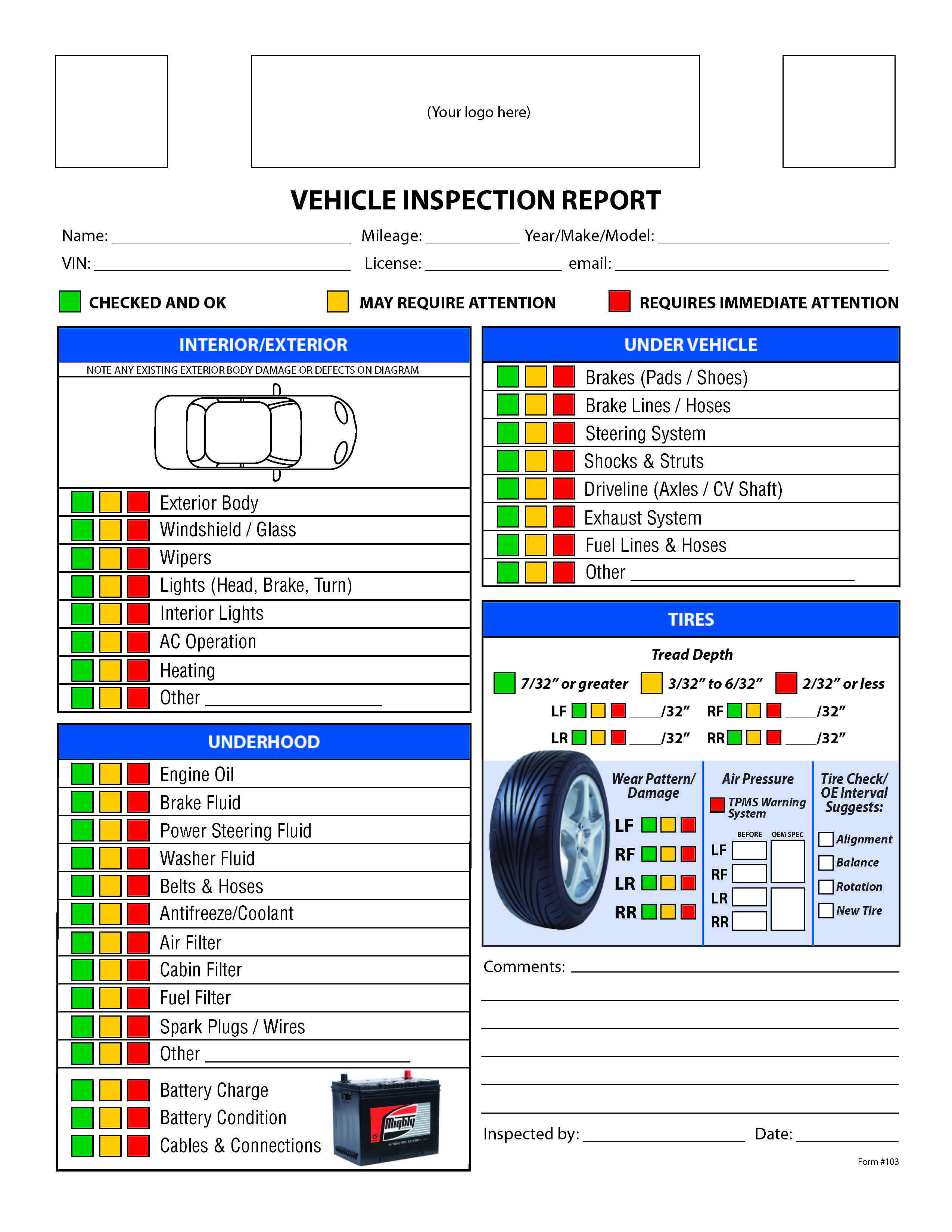 Free Vehicle Inspection Checklist Form | Vehicle Inspection with Vehicle Inspection Report Template