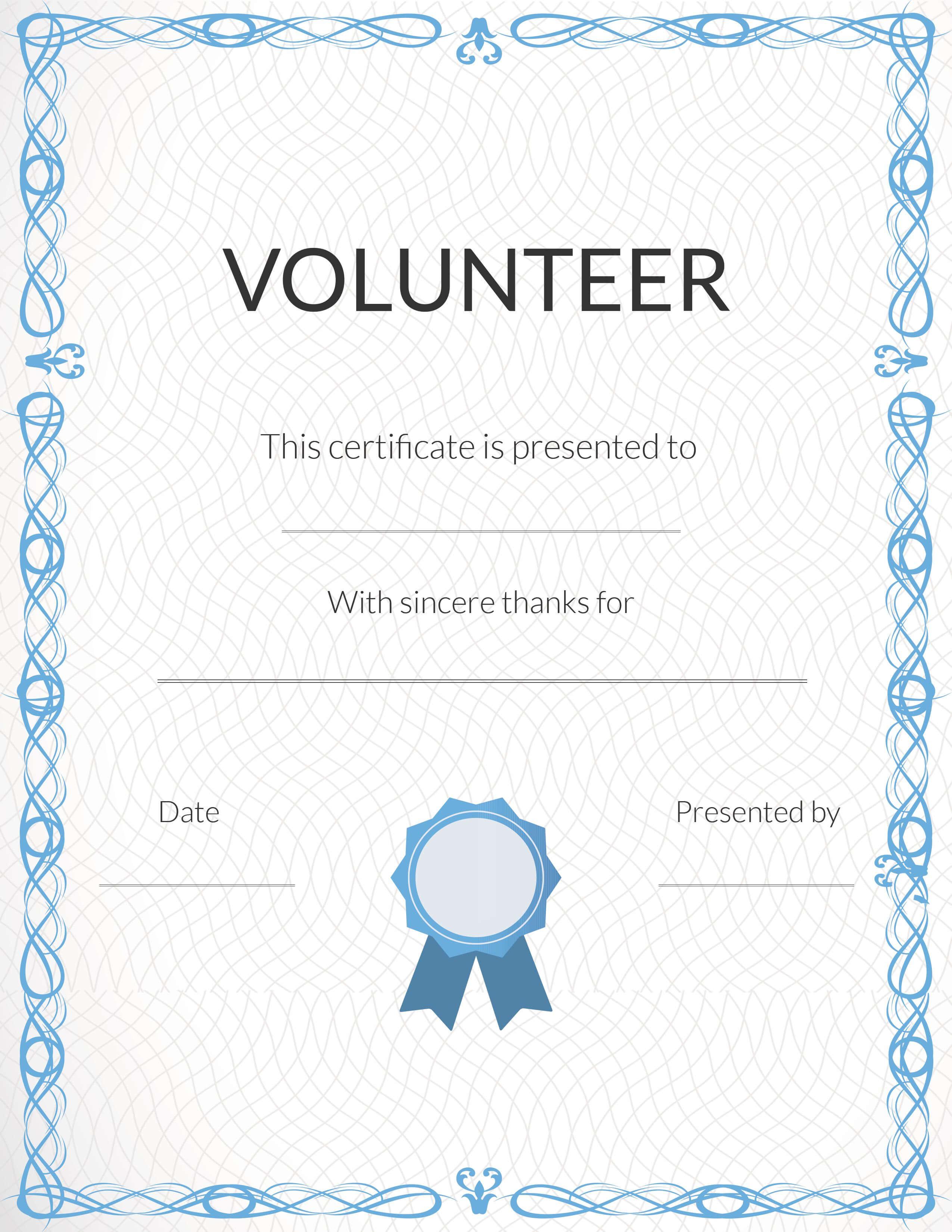 Free Volunteer Appreciation Certificates — Signup Pertaining To Volunteer Award Certificate Template
