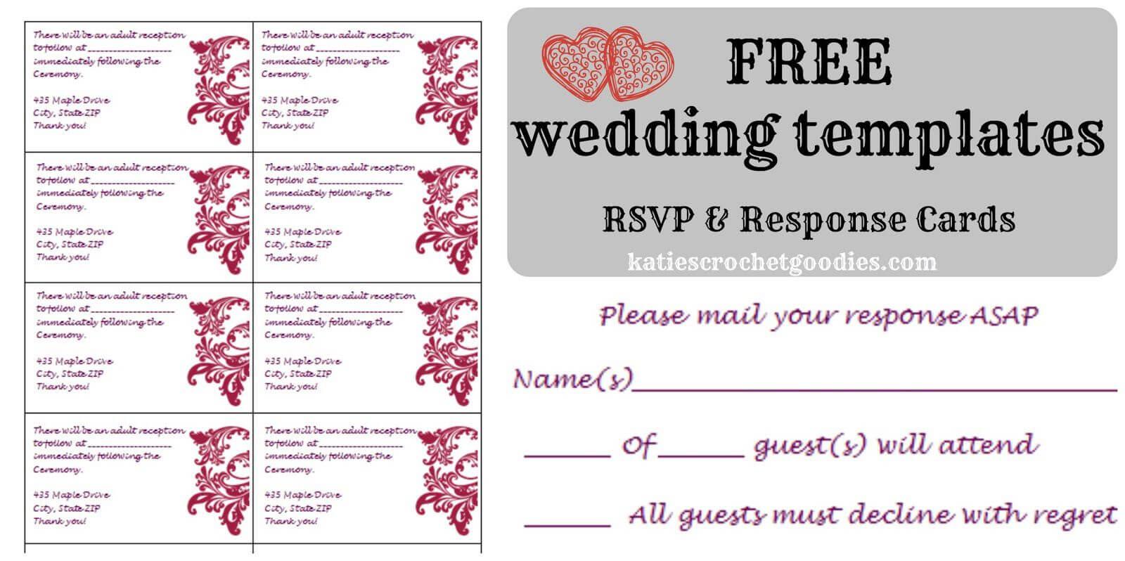 Free Wedding Rsvp & Response Card Template Templat | Wedding For Free Printable Wedding Rsvp Card Templates