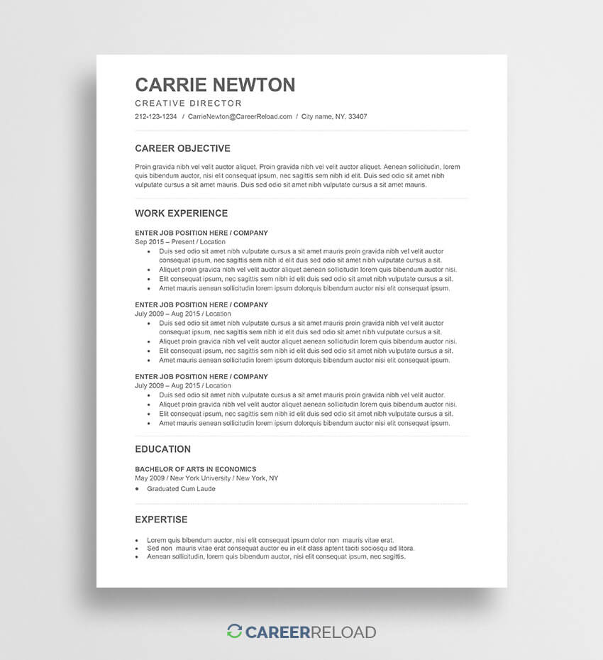 Free Word Resume Templates - Free Microsoft Word Cv Templates pertaining to How To Get A Resume Template On Word