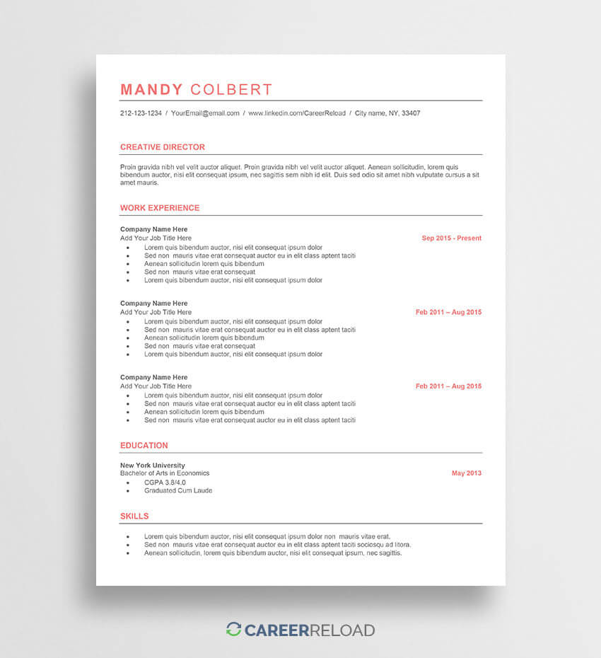Free Word Resume Templates - Free Microsoft Word Cv Templates with How To Get A Resume Template On Word