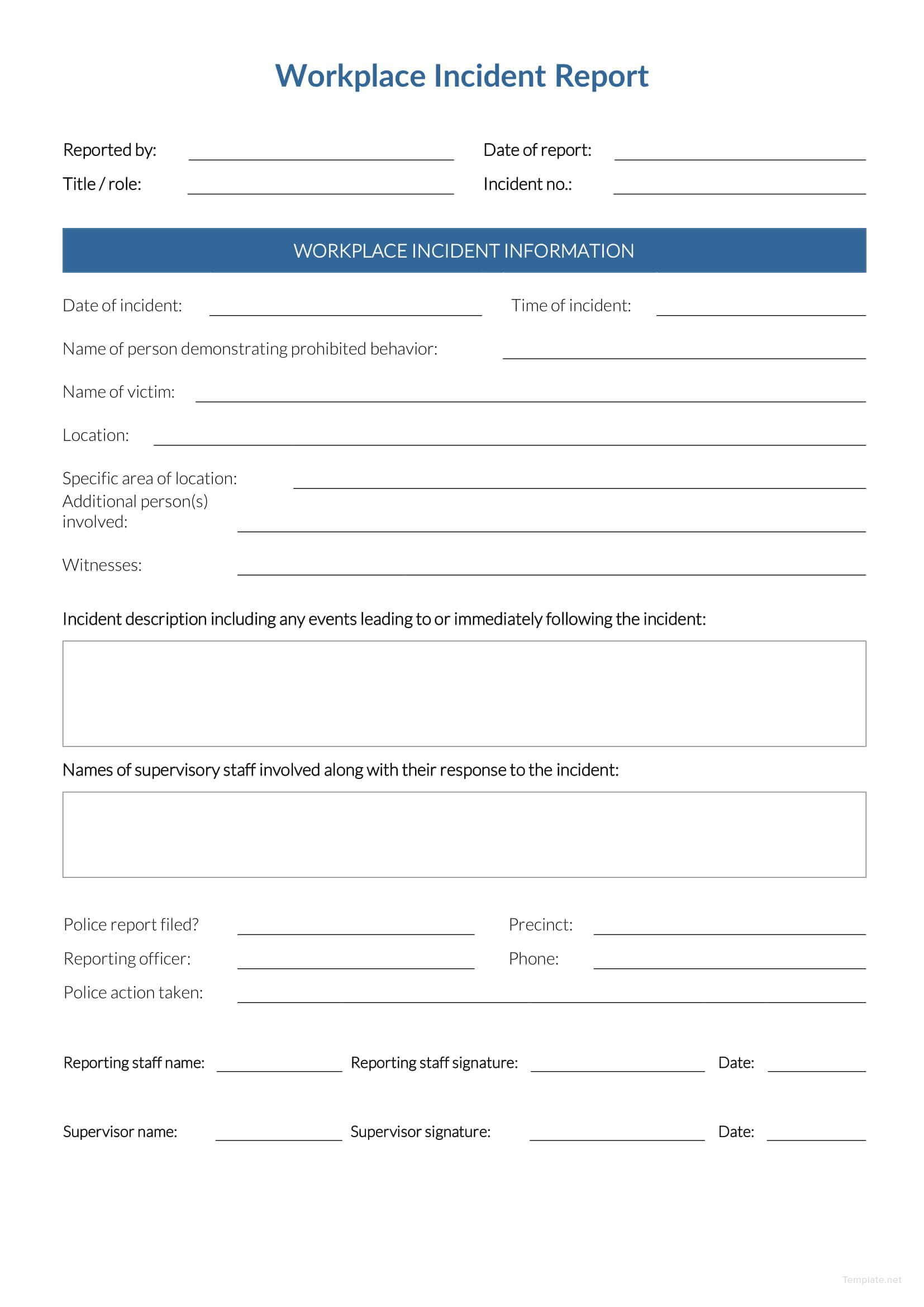 Free Workplace Incident Report | Data Form | Incident Report for Generic Incident Report Template