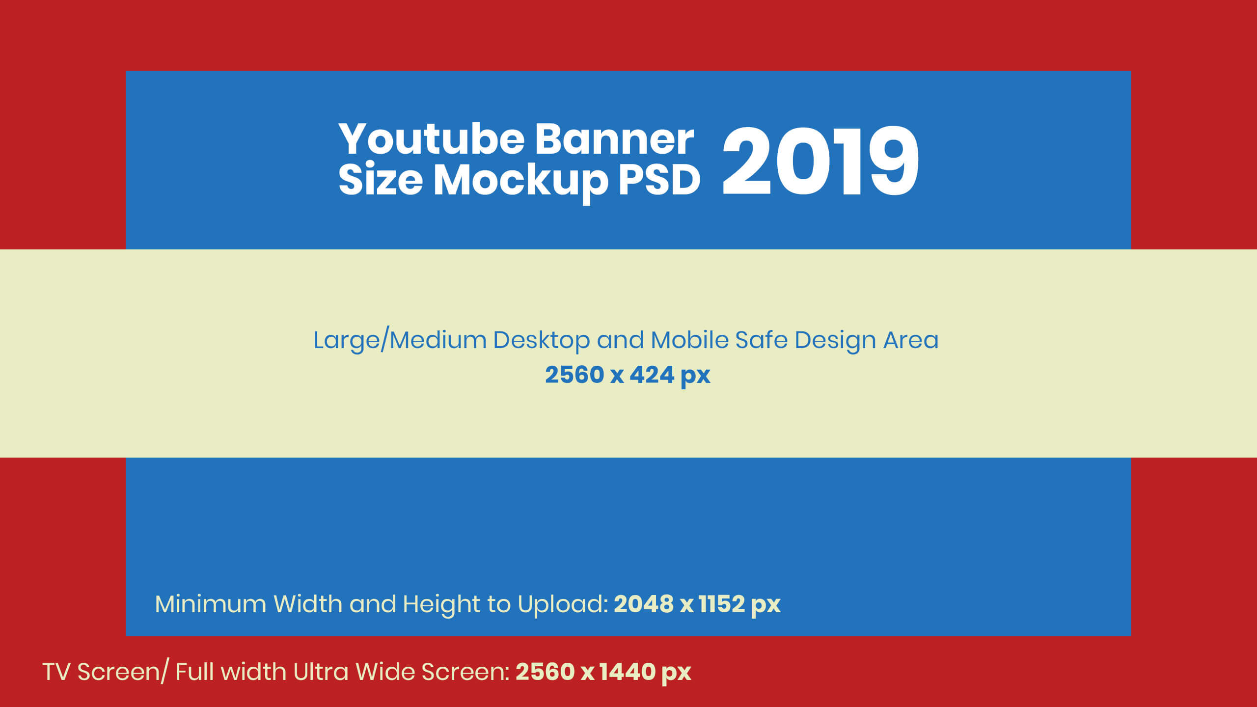 Free Youtube Banner Size Mockup 2019 & Design Template Psd with regard to Youtube Banner Size Template