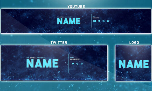 Free Youtube Banner Template   Photoshop (Banner + Logo + Twitter Psd) 2016 throughout Adobe Photoshop Banner Templates
