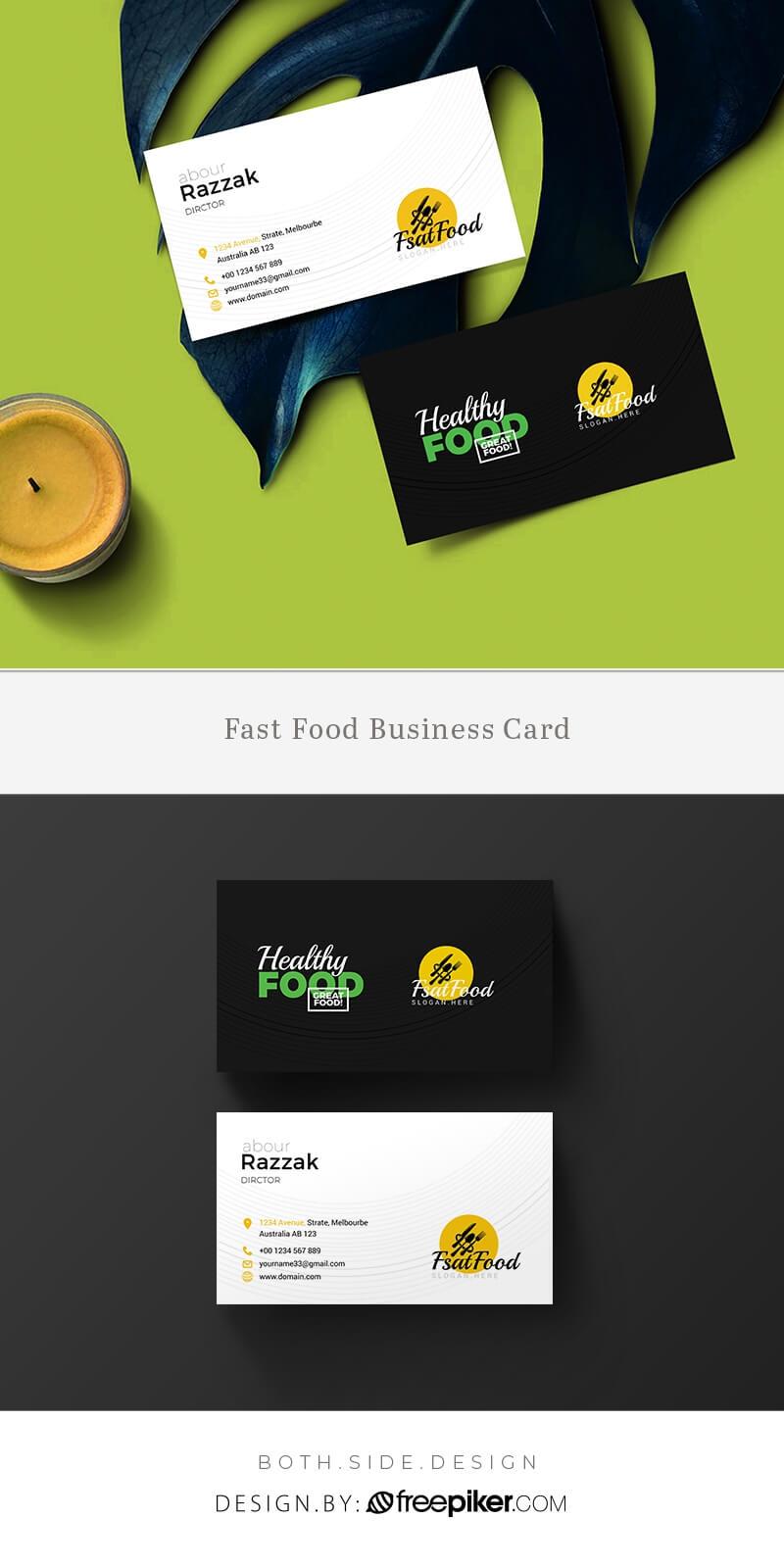 Freepiker   Food And Restaurant Business Card Template for Restaurant Business Cards Templates Free
