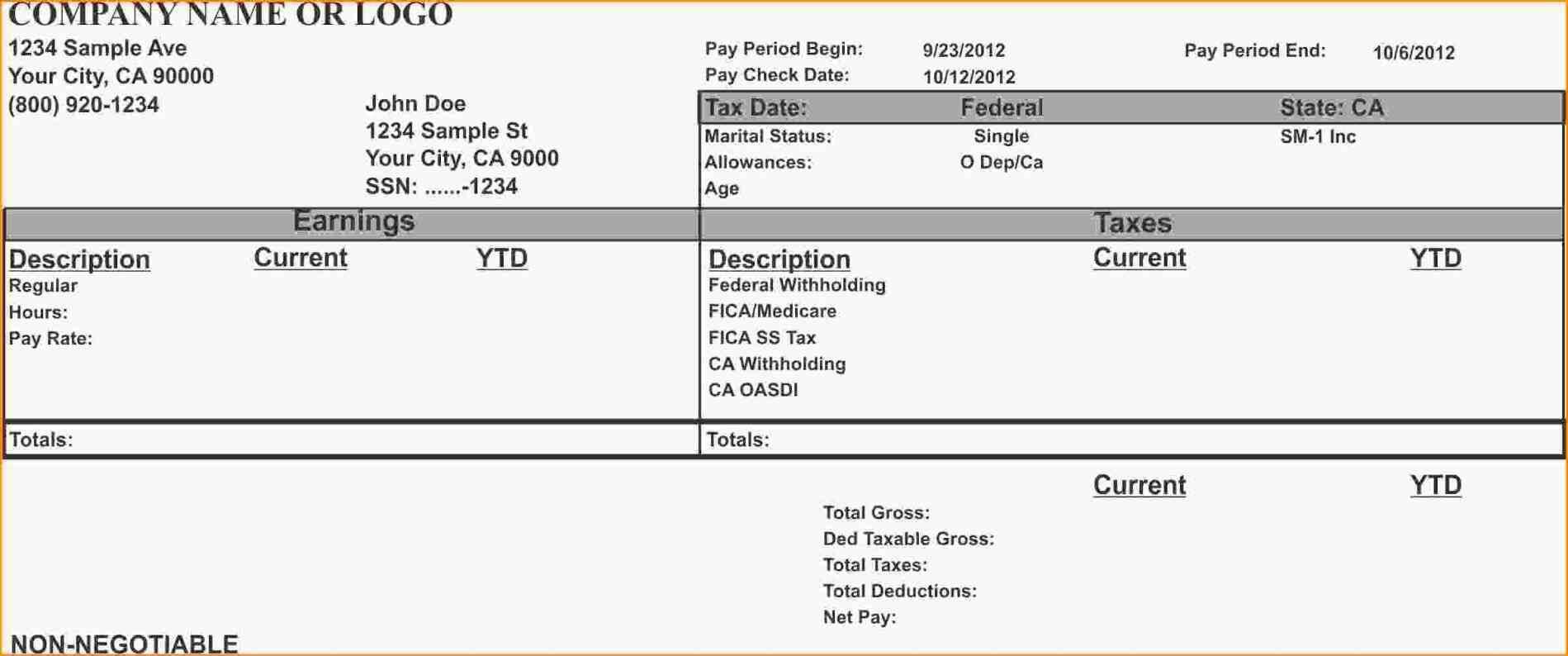 From Calculate Pay Stub Template Word Employee Payroll And With Free Pay Stub Template Word