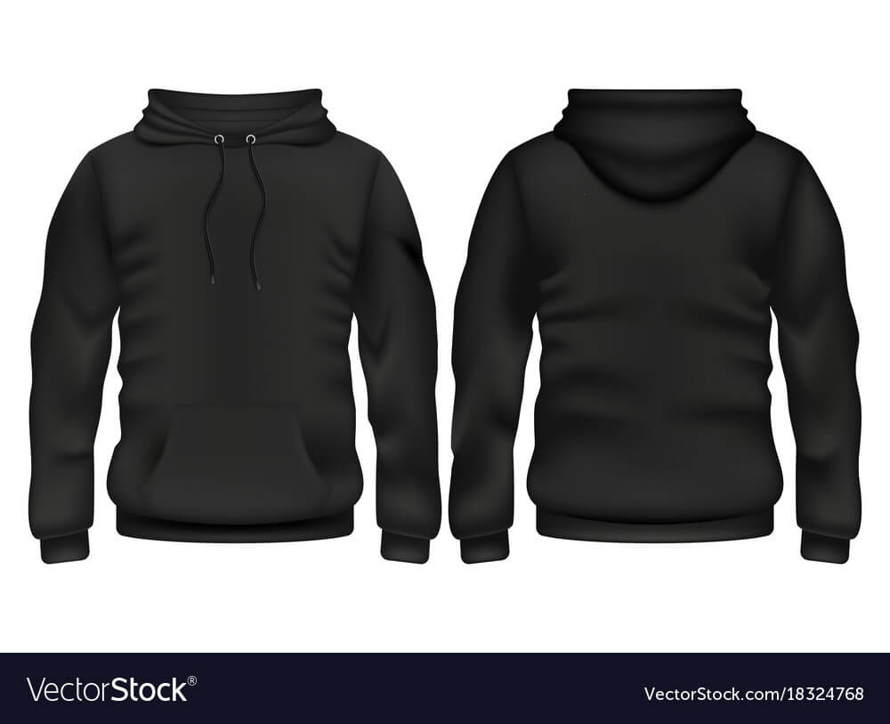 Front And Back Black Hoodie Template With Blank Black Hoodie Template