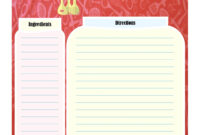 Full Page Recipe Card   Printable Recipe Cards, Family for Full Page Recipe Template For Word