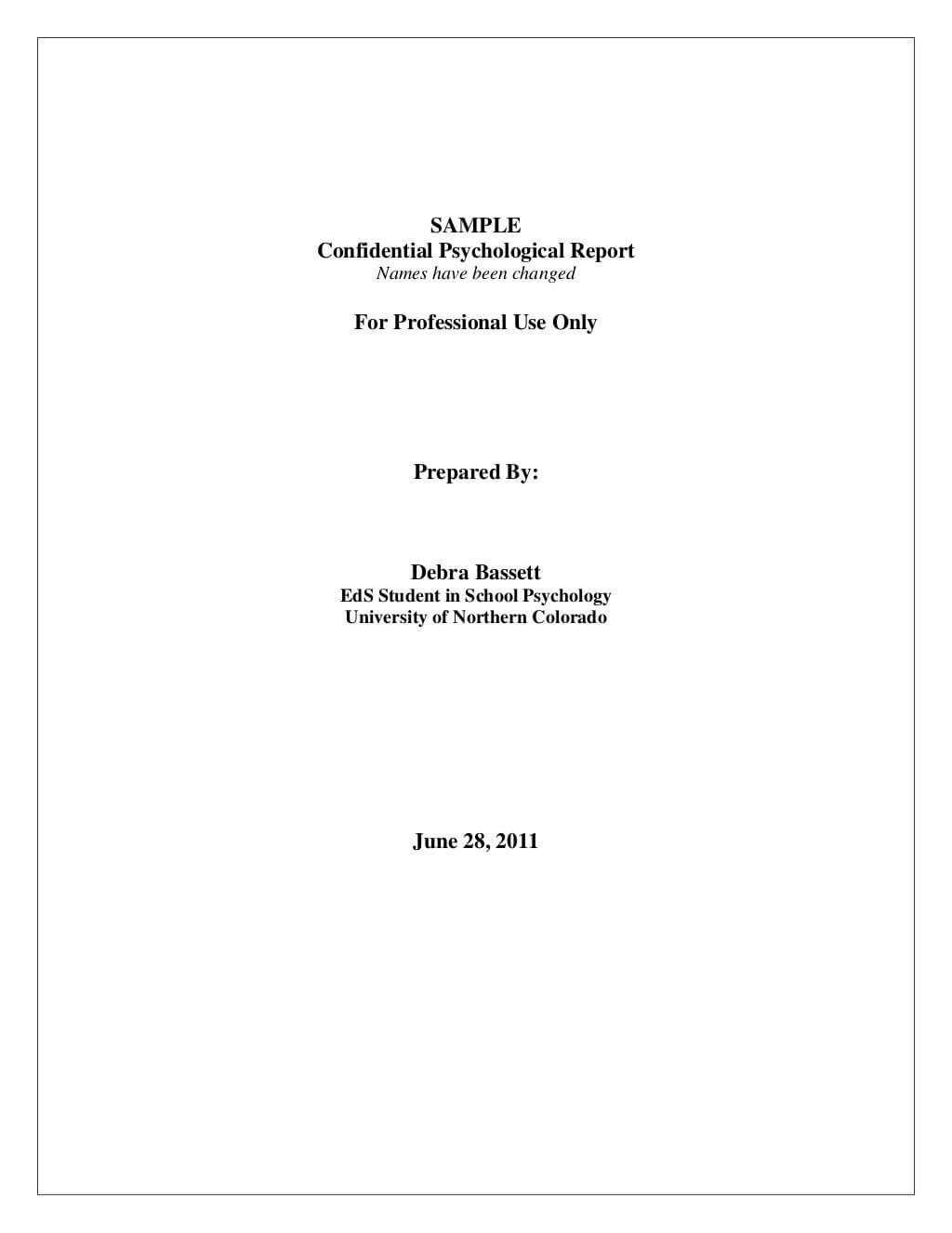 Full Psychological Report.sampledebrajean333 Via Within School Psychologist Report Template