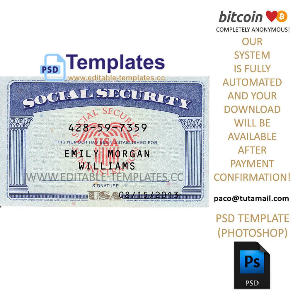 Fully Editable Ssn Usa Psd Template with regard to Editable Social Security Card Template