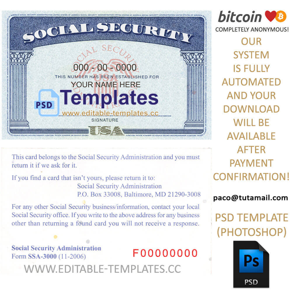 Fully Editable Ssn Usa Psd Template with Social Security Card Template Psd