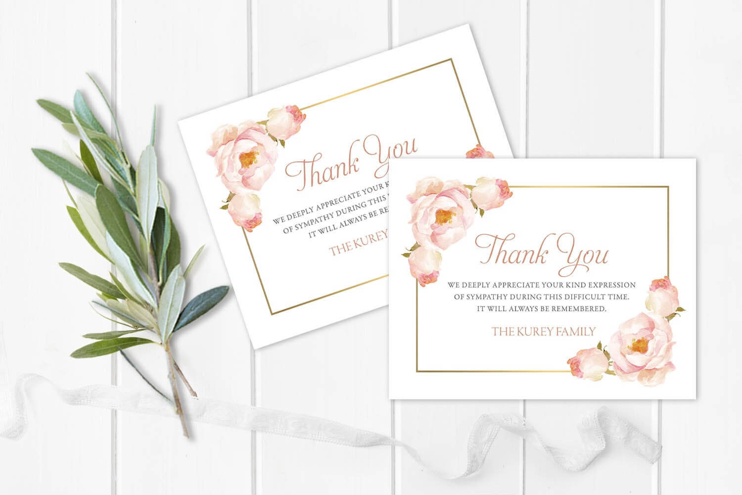 Funeral Acknowledgement Card Template Floral Sympathy Thank You Note  Funeral Cards Memorial Service Blush Rose Printable Template Or Printed with regard to Sympathy Thank You Card Template