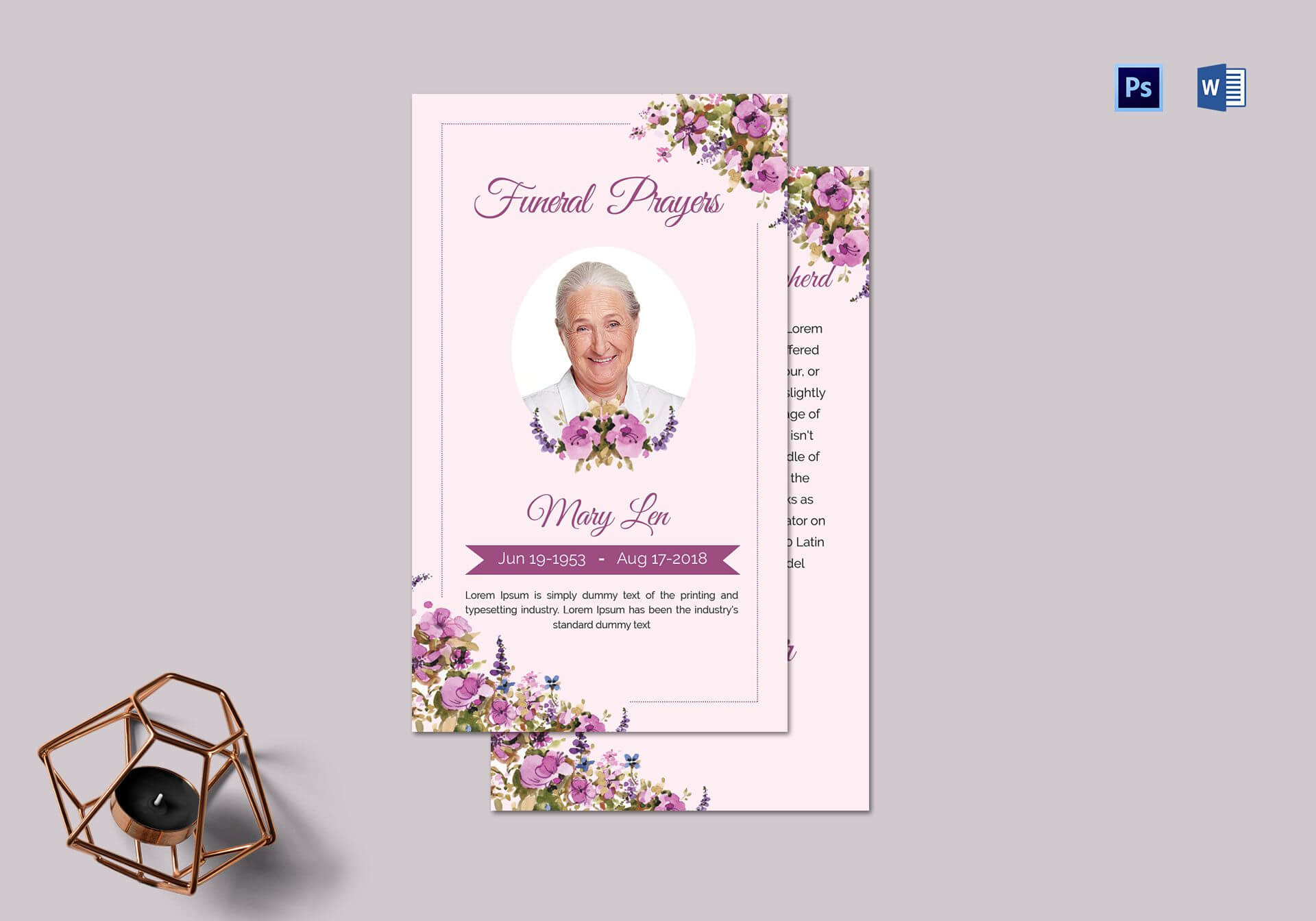Funeral Prayer Card Template For Loved Ones regarding Prayer Card Template For Word