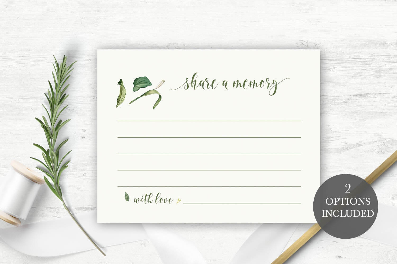 Funeral Share A Memory Card | Printable Funeral Memory Card | Greenery  Memorial Card Template | Funeral Cards | Memorial Cards Template Throughout In Memory Cards Templates