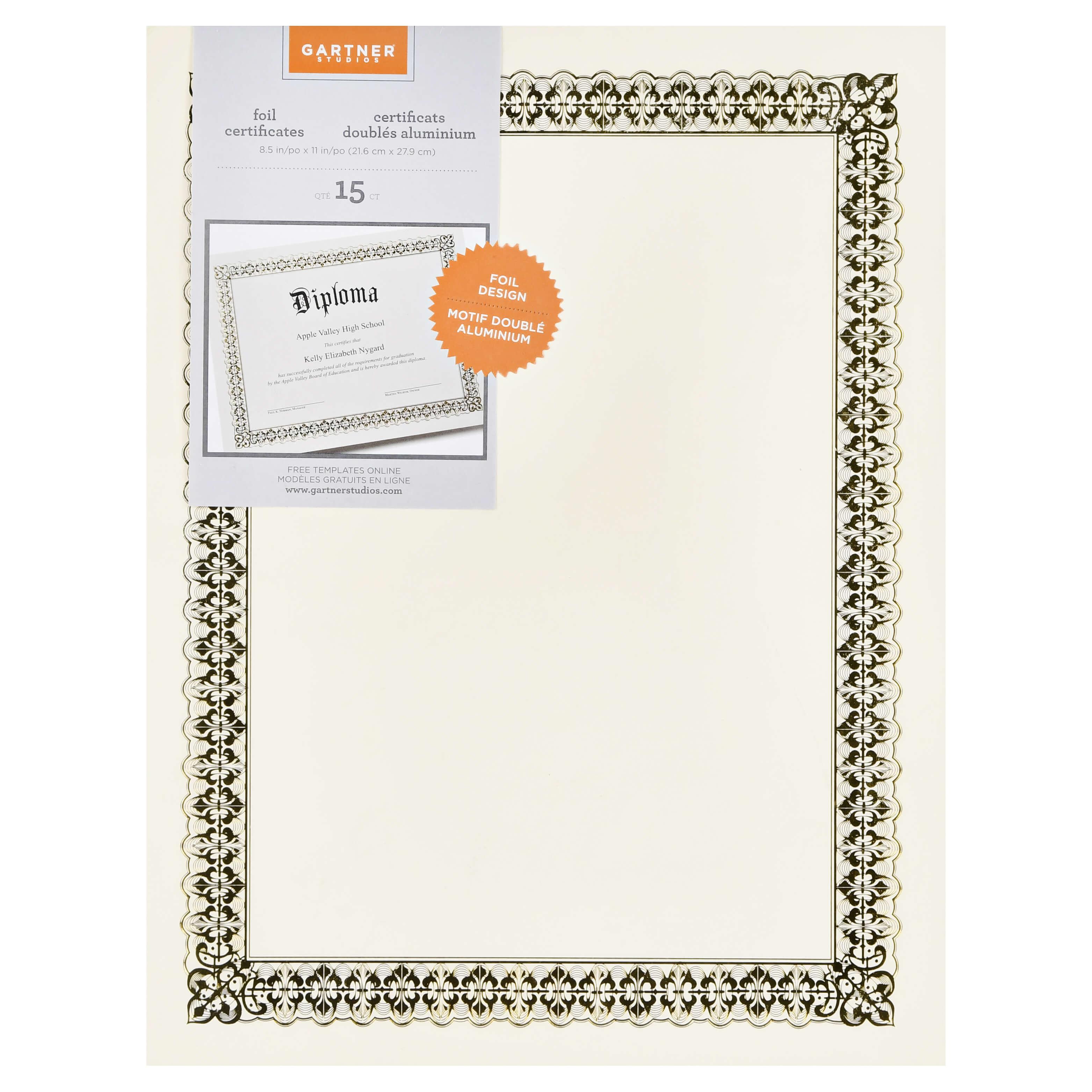 Gartner Studios 36004 S Gold Foil Certificate Within Gartner Certificate Templates