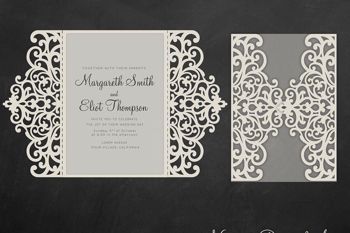 Gate Fold Wedding Invitation , 5X7, Cricut Template, Quinceanera Card -  Svg, Dxf, Cricut, Silhouette Cameo Inside Silhouette Cameo Card Templates