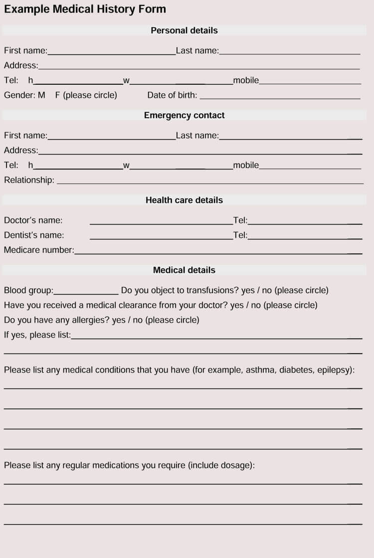 General Medical History Forms (100% Free) - [Word, Pdf] throughout Medical History Template Word