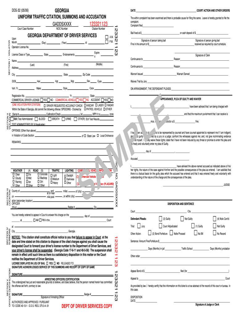Georgia Uniform Traffic Citation - Fill Online, Printable throughout Blank Speeding Ticket Template
