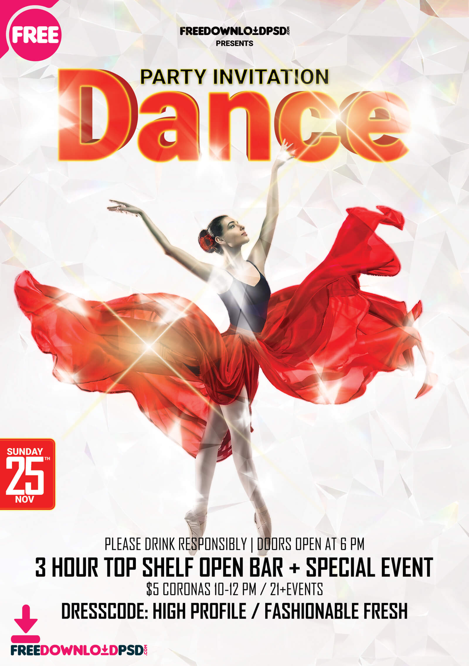 Get Free] Dance Party Template Psd | Freedownloadpsd Intended For Dance Flyer Template Word