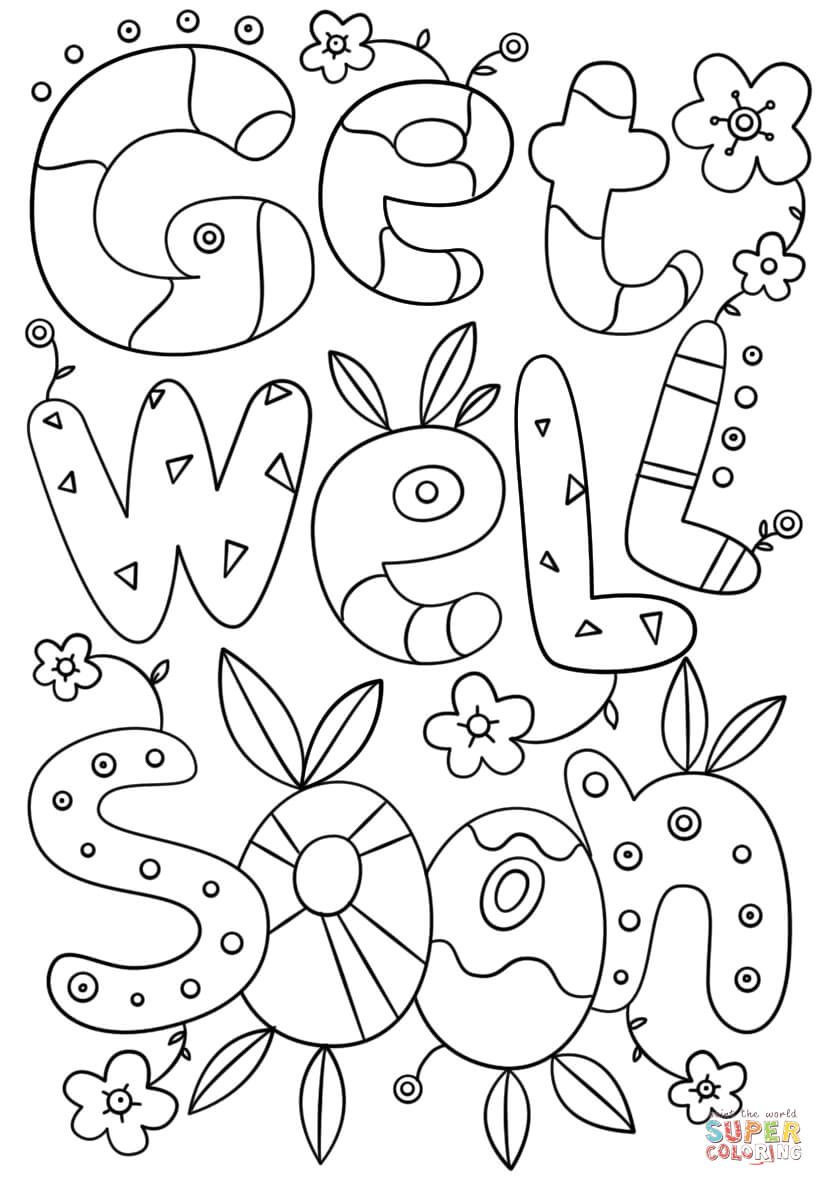 Get Well Soon Doodle Coloring Page | Free Printable Coloring throughout Get Well Soon Card Template