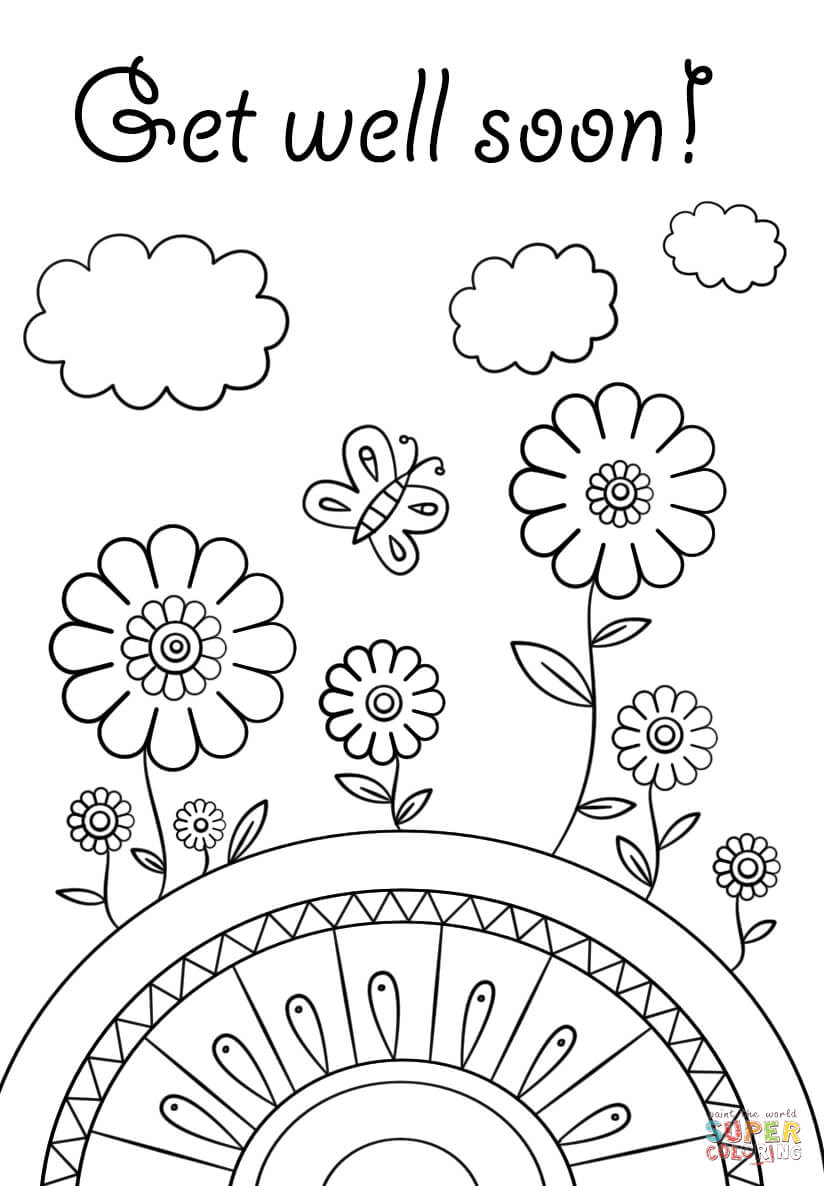 Get Well Soon Fargelegge | Free Printable Coloring Pages with Get Well Soon Card Template