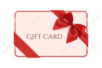Gift Card Template With Red Ribbon And A Bow. Vector Illustration with Present Card Template