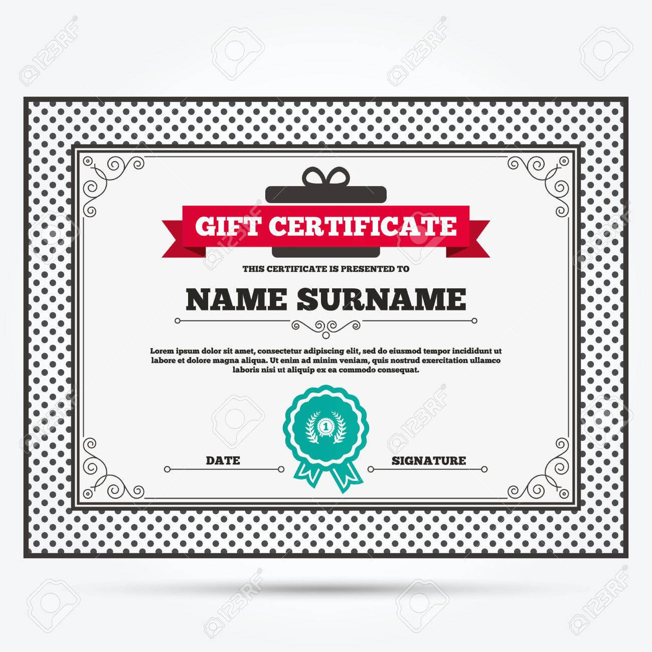 Gift Certificate. First Place Award Sign Icon. Prize For Winner.. regarding First Place Award Certificate Template