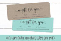 Gift Certificate Template | Editable Gift Card Pdf throughout Custom Gift Certificate Template